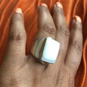 White stone sterling silver ring